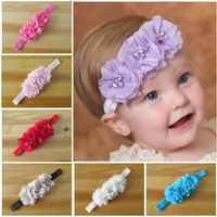 Free Shipping 14 color New design fabric chiffon flowers with crystal & pearl baby grils headbands hair accessories 15 pcs/lot