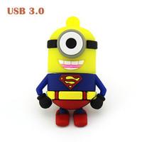Hot Sale Cartoon Minions Super Man Shape USB 3.0 Flash Drive Memory Stick Pendrive 3.0 8GB 16GB 32GB 64GB Free Shipping