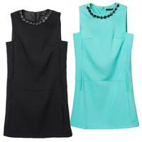 New summer fashion women dress zara2014 Inlay diamond neckline sleeveless tank dress solid color Casual dress