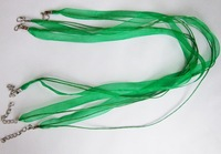 F1055FreeShipping!!! Wholeale 100pcs/lot  green necklace cord ,silk robbon lobster clasp jewelry accessories