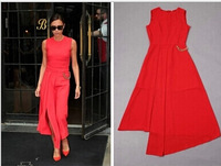 2014 Spring Autumn Summer New Women Irregular Red Black Dress Dresses Victoria Beckham Metal Chain Free Shipping hxh