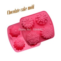 New fashion silicone 4 different flower silicone cake mold pudding chocolate mold soap tools cake mould