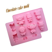 New style 6 hole cartoon animals shape silicone mold cake ice cream mold, baking printing tool