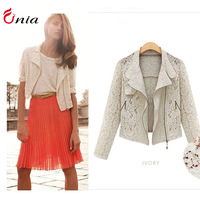 Free shipping 2014 new Autumn winter women lace blazer plus size shawl cardigan hollow thin wild women short coat # 6702