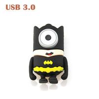 Retail Mini Cartoon Minions Batman Shape USB flash drive 3.0 Pendrive Flash Memory Stick Crad 8GB 16GB 32GB 64GB Black
