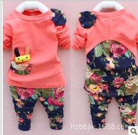 peppa clothing set 2014 autumn baby girls clothes set outfit children floral model suit with rabbit for 0-4 years old #14c046
