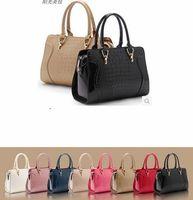 2013 crocodile pattern fashion smiley women's handbag,shoulder handbag messenger bag