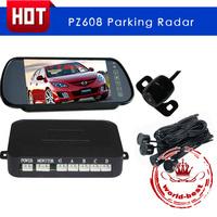 PZ608 LCD Car Parking Sensor Rear View Reversing Radar Alert Alarm System with Waterproof Camera 4 Sensors Free Shipping
