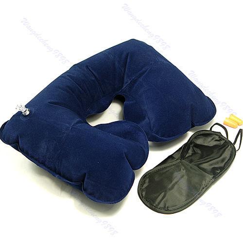 Free Shipping Travel Neck Air Cushion Pillow + eye mask + 2 Ear Plug(China (Mainland))