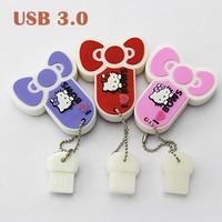 Real Capacity Hello kitty Shape USB3.0 Usb Flash Drive Memory Stick Pendrive Pen Drive 8GB/16GB/32GB/64GB Free Shipping