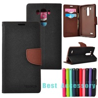 Hit Contrast Color Wallet PU Leather Case for LG Optimus G3 Back Stand with Card Holder Mobile Phone Bags Cases