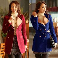 women coat 2014 new fashion high quality winter wool coat double-breasted sashes long style slim waist ladies coat 975