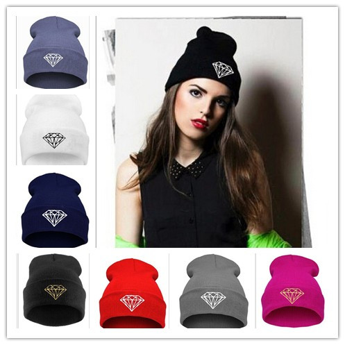 New Hip Hop Unisex Hat Winter Autumn Knitted Cotton Diamond Pattern Beanies Men Sport Ski Skullies For Girls Women Touca(China (Mainland))
