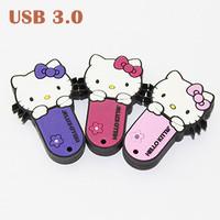 Hot Sale Real Capacity Cartoon Hello kitty Shape USB 3.0 Memory Thumb Stick Usb Flash Drive 8GB/16GB/32GB/64GB Free Shipping