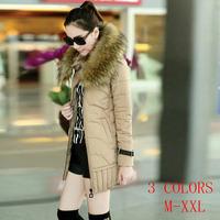 New 2014 fur collar jacket winter coat thicken Slim female Eiderdown cotton women parka long winter clothing plus size M-XXL