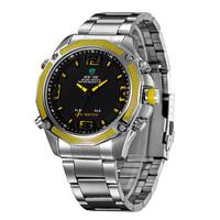 2014 New Style Sport Watches WEIDE Round Hardlex LED Quartz Wristwatches Analog Men Full Steel Watch Hot Free Shipping