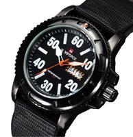 2014 new unique military Brand Sport Army Waterproof Canvas DATE DAY Analog Quartz  AL33 movt. Black Clock Mens Wrist Watch