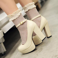 Free shipping Autumn round toe thick heel single shoes bandage ultra high-heeled shoes platform women's shoes nude female pumps