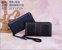 2014 men's genuine leather wovened zip wallet NO.BV8210