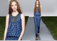 2014 Spring Autumn Summer New Women Hand-beaded Beading Blue Denim Jumpsuit Romper Lady Trousers Peace Dove Free Shipping hxh