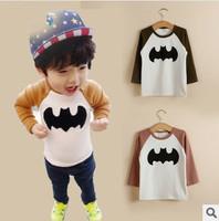 children boy new 2014 autumn fall long sleeve coffee khaki cotton bat pring cartoon t shirt kids fashion casual t-shirts top