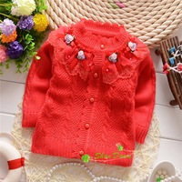 2014 new arrival real kids sweaters girls winter and autumn child girls sweet four flower bow sweater cardigans,kids coat#14c044