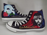 2014 Free shipping Any Size Hand Painted shoes Les Miserable / Phantom of the Opera Hi Black