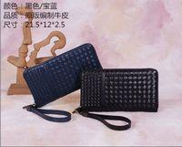 2014 men's genuine leather wovened zip wallet NO.BV8237