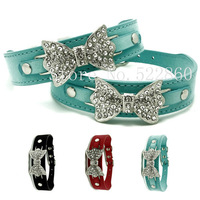 bling dog collars  leather pet collar Small medium Large Bows Fashion Puppy cat kitten Chihuahua necklace blue