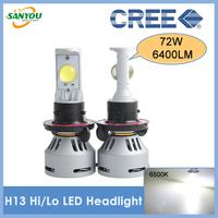2014 New 1 Set 72W 6400LM Cree X-Lamp MTG2 H13 Hi/Lo Beam LED Headlight Auto H4 9008 9004 9007 H7 H11 H8 9005 9006 LED Headlamp