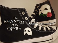 2014 Free shipping Any Size Hand Painted Phantom of the Opera Hi Tops Black Cool Customized canvas shoes