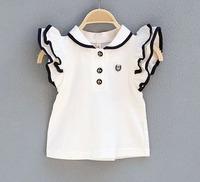 2014 New arrive white cute Baby Girls Kids Children summer short sleeve blouses & shirts, girl cotton shirt , baby clothing 6pcs