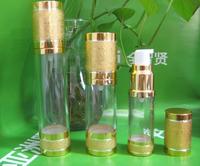 Via Fedex/TNT, 30ML Gold &Silver Airless Plastic Lotion Bottles Vacuum Emulsion Pressure Bottle Vacuum Cosmetic Packaging 300PCS