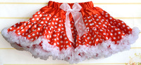Yixin Children'S Clothing Girls Tutu Skirts With Chiffon Ruffles Bowknot Design Red Color Pettiskirts