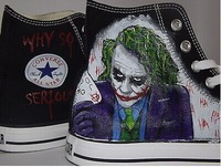 Free shipping Hand Painted Customized canvas shoes Joker Heath Ledger Batman Hi Black Any Size