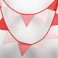 4.4M 14flags Red Tone Fabric Bunting Handmade Personality Wedding  Birthday Party Decoration Photo Prop Customize Garland