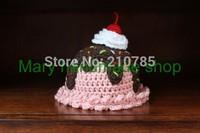 Crochet Baby hat Hand made Cute Baby Ice Cream Sundae hat cap Pink / brown / white Baby Beanie Newborn Photo props Free shipping