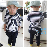 spring autumn navy stripe children suit Leisure two-piece boy cotton full sets