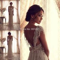 2014 New Custom Made Cap Sleeve Beaded Tulle Sleeveless Sweetheart Long Bridal Gowns Wedding Dresses Vestidos de casamento