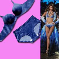 Add 2 Cups Lovely Lolita Style Dot Pattern One-Piece Seamless Bra and Brief Set Women Intimate Push Ups Underwear