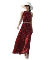 BeautyWill Womens Polka Dots Long Boho Chiffon Dress Black and Red