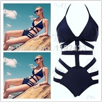 Free Shipping Sexy Girl's Women's Sexy One Piece Swimsuit Women Vintage Swimwear Padded Push Up Bathing Suits black swimwear