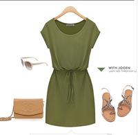 Summer 2014 Women's European style big yards solid loose milk silk tie waist dress YM518 two color size XL-5XL