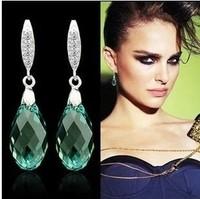925 pure silver long design austria crystal earrings drop earring female luxury earring