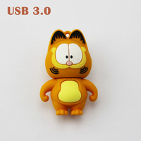 Wholesale Cute Cartoon Garfield USB3.0 Memory Pendrive USB Drives 8GB 16GB 32GB 64GB Free Shipping