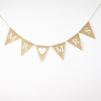 Burlap Wedding Banners- Mr Mrs-Wedding Photo Prop Bunting -Personality Wedding Sign - Vintage Fabric Garland
