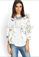 2014 Spring Autumn Fashion Women Floral Flower Bird Print Casual Leisure Thin White Blazer suits Coat Tops Free Shipping