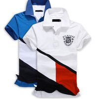 2014 Men's Fashion Wear Lapel Cotton Short-Sleeved Polo Shirt 2-Color High-Quality Men's Size ML XL XXL XXXL Free Shipping