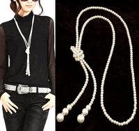 Fashion Big Pearl Necklaces Pendants Channel Rhinestones Long Statement Necklace Women Men Jewelry