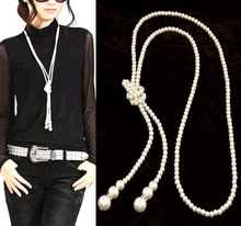 Statement Long Big Pearl Channel Rhinestones Fashion Necklace for Women Jewelry Colares Femininos 2014 Accessories Bijuterias